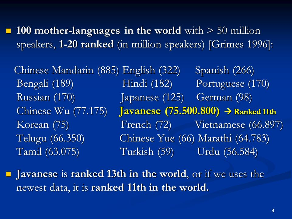 100 mother-languages in the world with > 50 million speakers, 1-20 ranked (in million speakers) [Grimes 1996]: